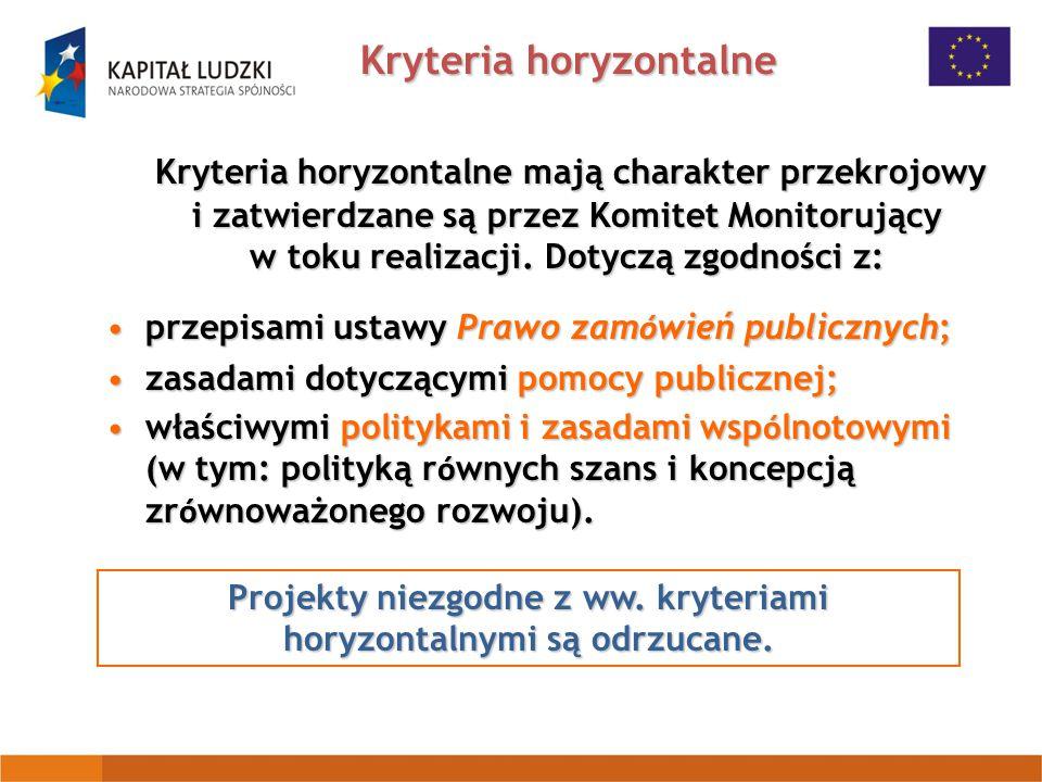 Kryteria horyzontalne Kryteria horyzontalne mają charakter przekrojowy i zatwierdzane są przez Komitet Monitorujący w toku realizacji.