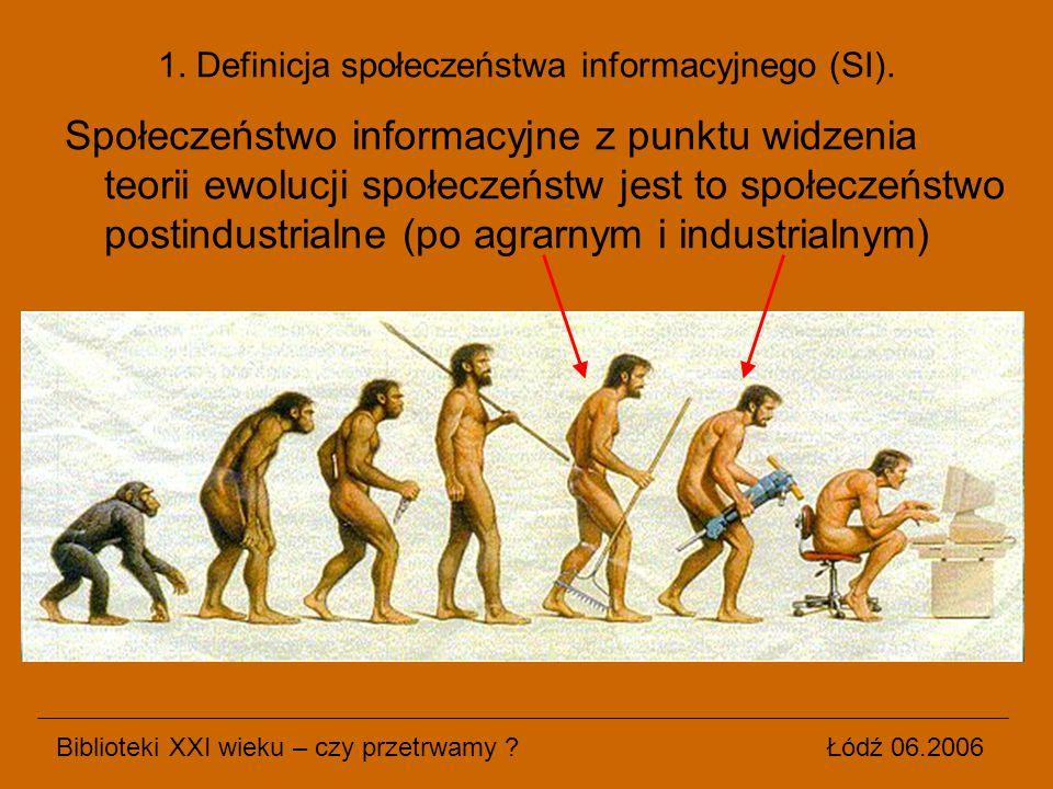 Społeczeństwo informacyjne z punktu widzenia teorii ewolucji społeczeństw jest to społeczeństwo postindustrialne (po agrarnym i industrialnym) Bibliot