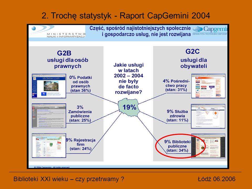 Biblioteki XXI wieku – czy przetrwamy ? Łódź 06.2006 2. Trochę statystyk - Raport CapGemini 2004