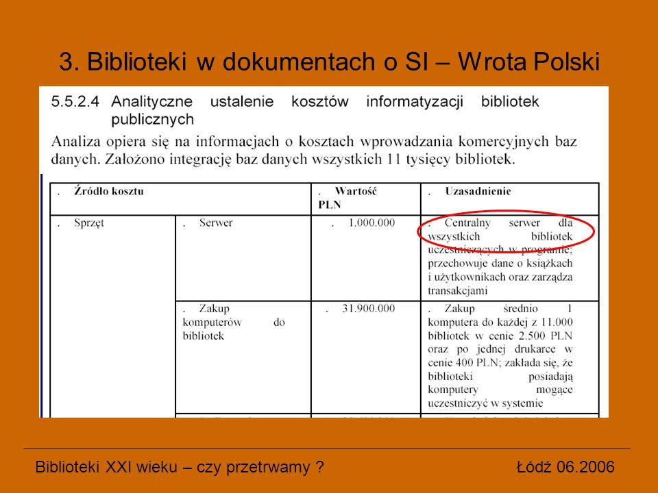 Biblioteki XXI wieku – czy przetrwamy ? Łódź 06.2006 3. Biblioteki w dokumentach o SI – Wrota Polski