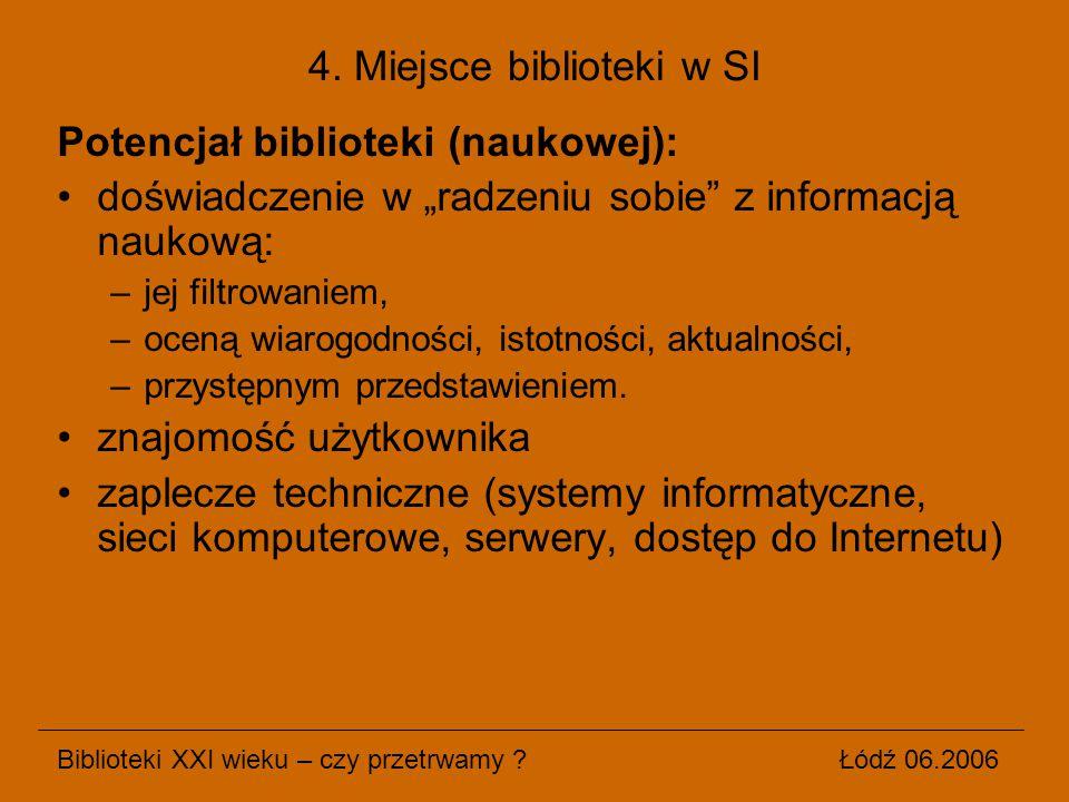 """Potencjał biblioteki (naukowej): doświadczenie w """"radzeniu sobie"""" z informacją naukową: –jej filtrowaniem, –oceną wiarogodności, istotności, aktualnoś"""