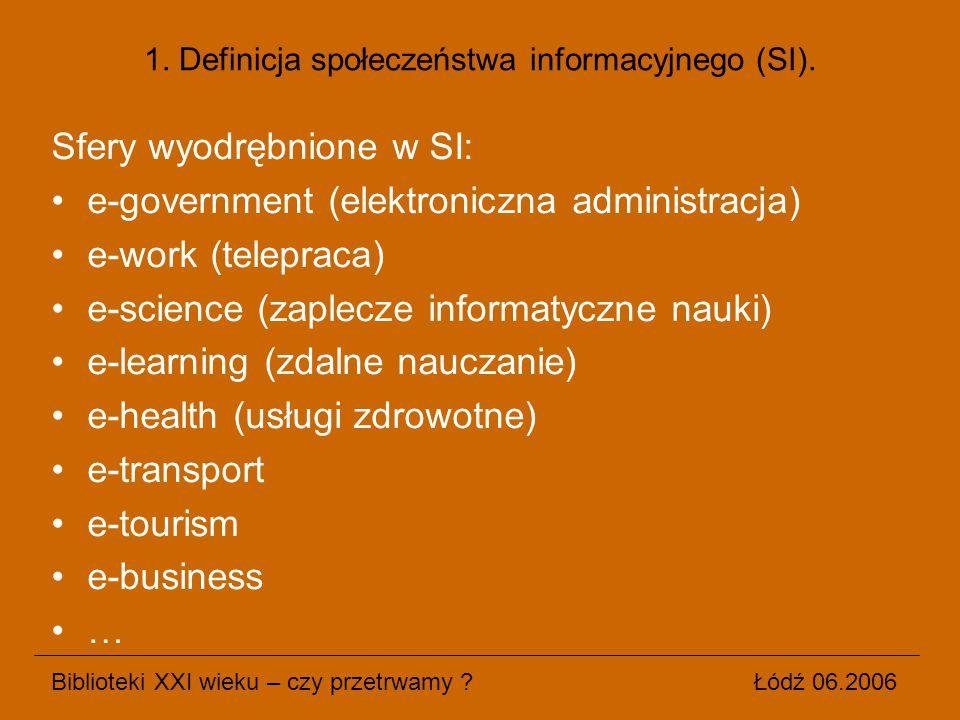 1. Definicja społeczeństwa informacyjnego (SI). Sfery wyodrębnione w SI: e-government (elektroniczna administracja) e-work (telepraca) e-science (zapl