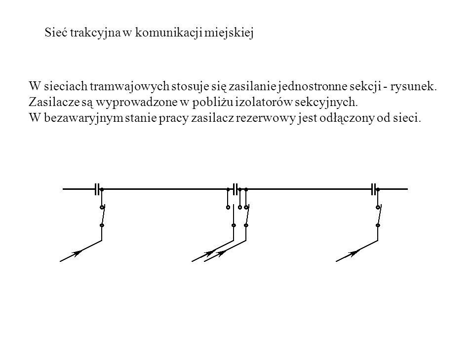 Sieć trakcyjna w komunikacji miejskiej W sieciach tramwajowych stosuje się zasilanie jednostronne sekcji - rysunek.