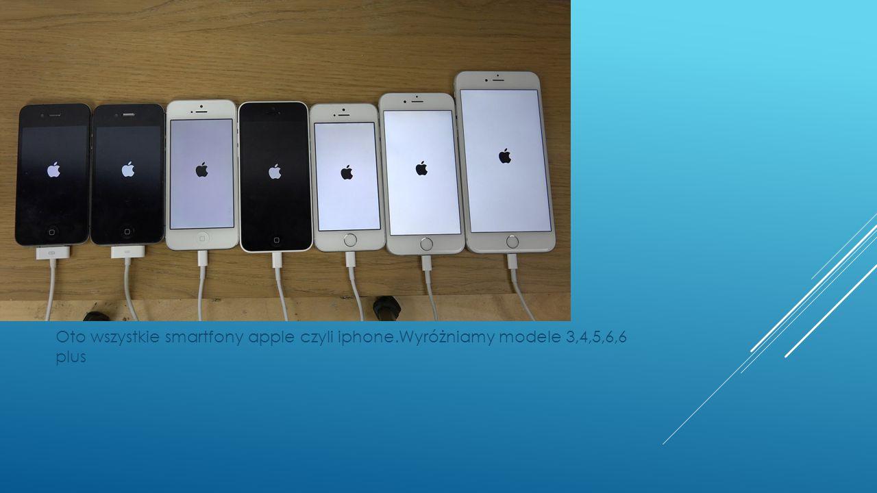 Oto wszystkie smartfony apple czyli iphone.Wyróżniamy modele 3,4,5,6,6 plus