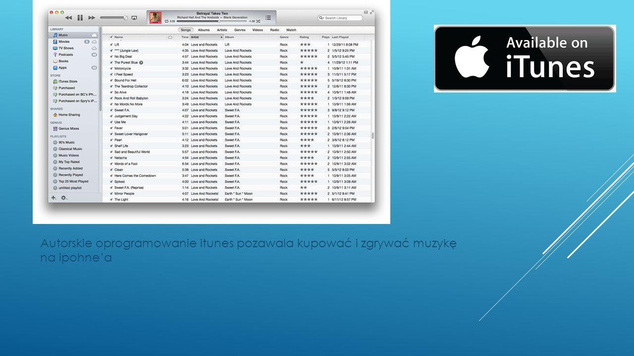 Autorskie oprogramowanie itunes pozawala kupować i zgrywać muzykę na ipohne'a
