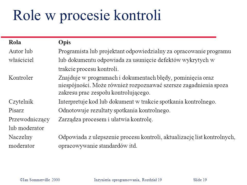 ©Ian Sommerville 2000Inżynieria oprogramowania, Rozdział 19Slide 19 Role w procesie kontroli RolaOpis Autor lub Programista lub projektant odpowiedzialny za opracowanie programu właściciellub dokumentu odpowiada za usunięcie defektów wykrytych w trakcie procesu kontroli.