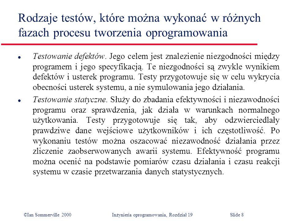 ©Ian Sommerville 2000Inżynieria oprogramowania, Rozdział 19Slide 8 l Testowanie defektów.