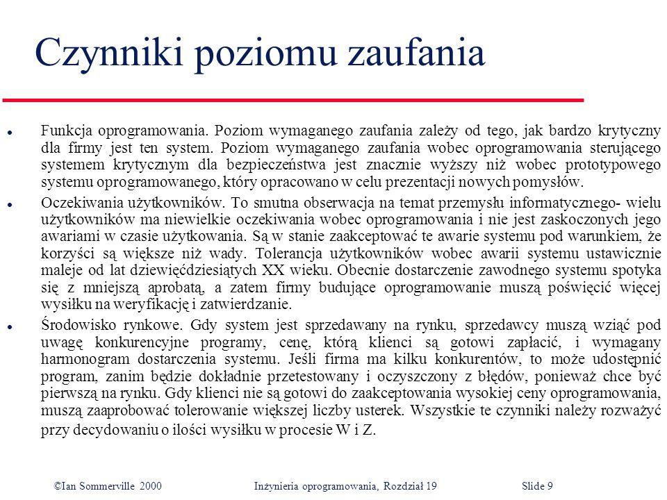 ©Ian Sommerville 2000Inżynieria oprogramowania, Rozdział 19Slide 9 l Funkcja oprogramowania.