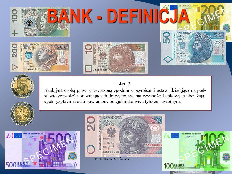 Ostatnio wyświetlany 2 BANK - DEFINICJA Źródło:Ustawa z dnia 29 sierpnia 1997 roku Prawo bankowe Dz. U. 1997 Nr 140 poz. 939