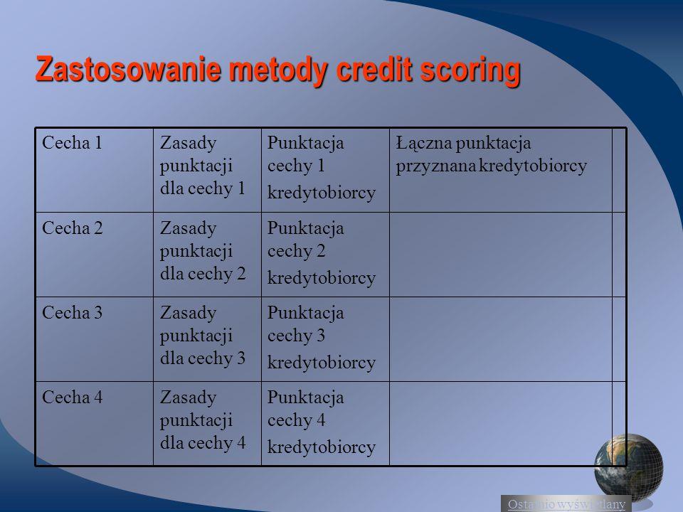 Ostatnio wyświetlany Zastosowanie metody credit scoring Punktacja cechy 4 kredytobiorcy Zasady punktacji dla cechy 4 Cecha 4 Punktacja cechy 3 kredytobiorcy Zasady punktacji dla cechy 3 Cecha 3 Punktacja cechy 2 kredytobiorcy Zasady punktacji dla cechy 2 Cecha 2 Łączna punktacja przyznana kredytobiorcy Punktacja cechy 1 kredytobiorcy Zasady punktacji dla cechy 1 Cecha 1