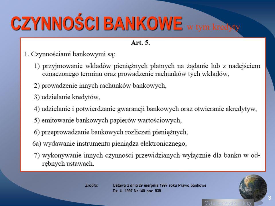 Ostatnio wyświetlany 3 CZYNNOŚCI BANKOWE CZYNNOŚCI BANKOWE w tym kredyty Źródło:Ustawa z dnia 29 sierpnia 1997 roku Prawo bankowe Dz. U. 1997 Nr 140 p