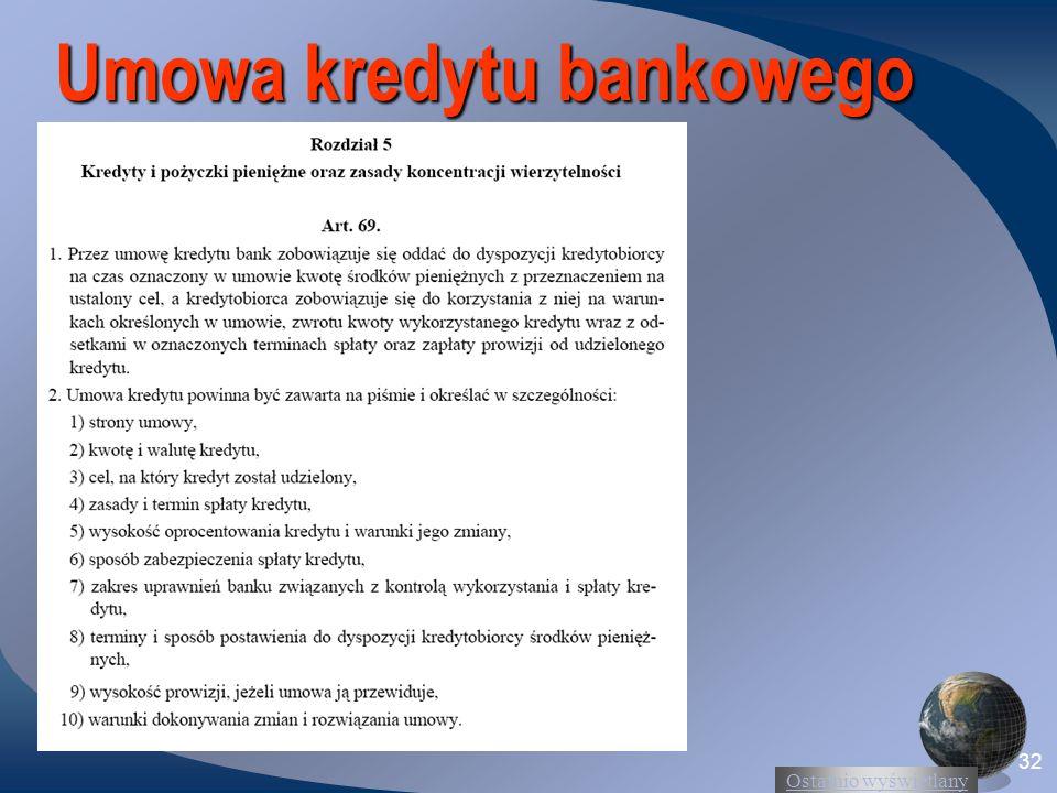 Ostatnio wyświetlany 32 Umowa kredytu bankowego