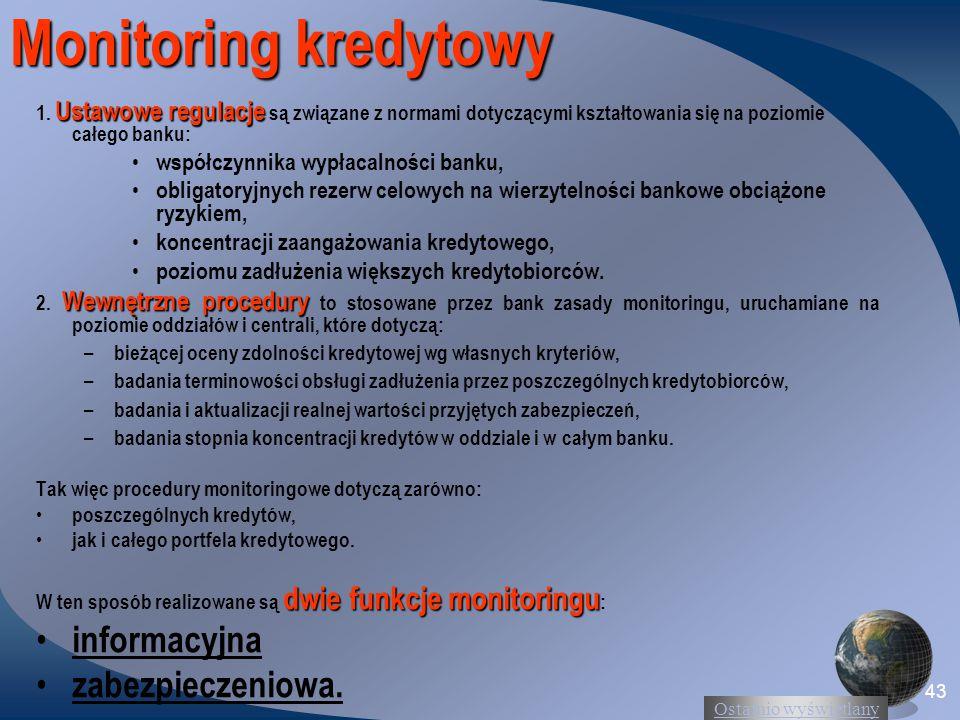 Ostatnio wyświetlany 43 Monitoring kredytowy Ustawowe regulacje 1. Ustawowe regulacje są związane z normami dotyczącymi kształtowania się na poziomie