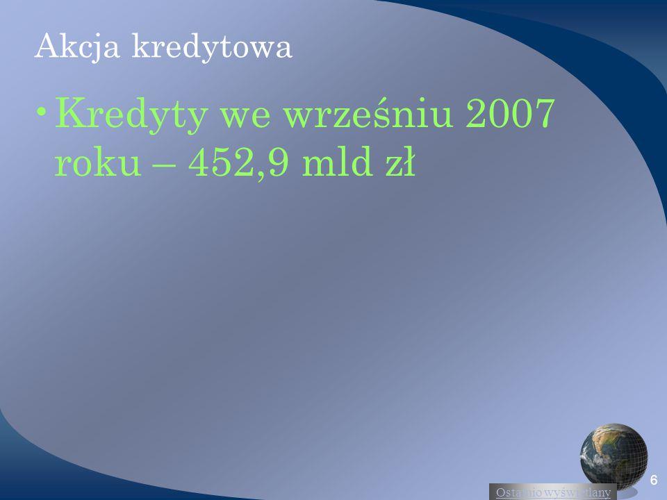 Ostatnio wyświetlany 6 Akcja kredytowa Kredyty we wrześniu 2007 roku – 452,9 mld zł