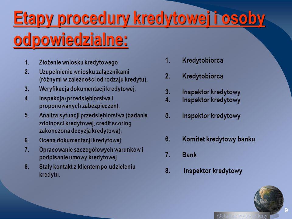 Ostatnio wyświetlany 9 Etapy procedury kredytowej i osoby odpowiedzialne: 1.Złożenie wniosku kredytowego 2.Uzupełnienie wniosku załącznikami (różnymi
