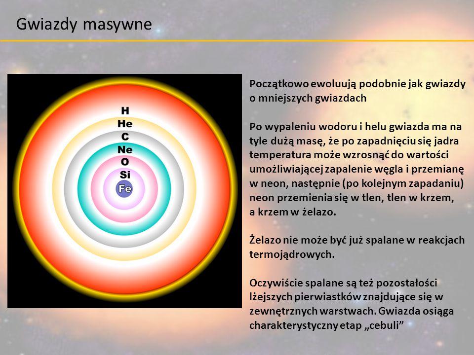 Początkowo ewoluują podobnie jak gwiazdy o mniejszych gwiazdach Po wypaleniu wodoru i helu gwiazda ma na tyle dużą masę, że po zapadnięciu się jadra t