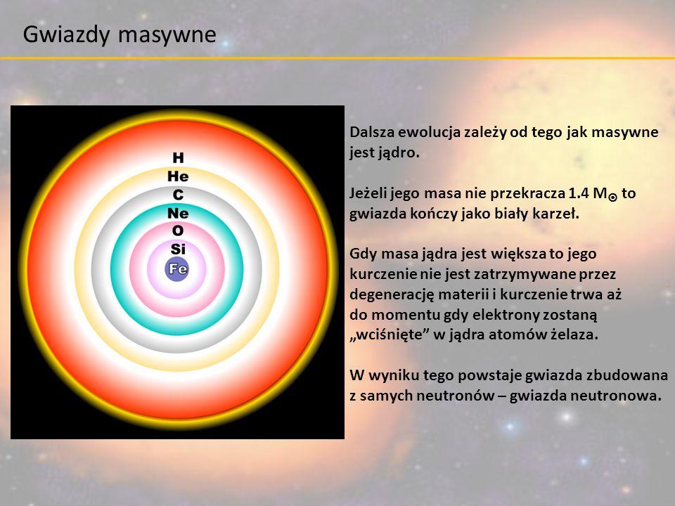 Dalsza ewolucja zależy od tego jak masywne jest jądro. Jeżeli jego masa nie przekracza 1.4 M  to gwiazda kończy jako biały karzeł. Gdy masa jądra jes