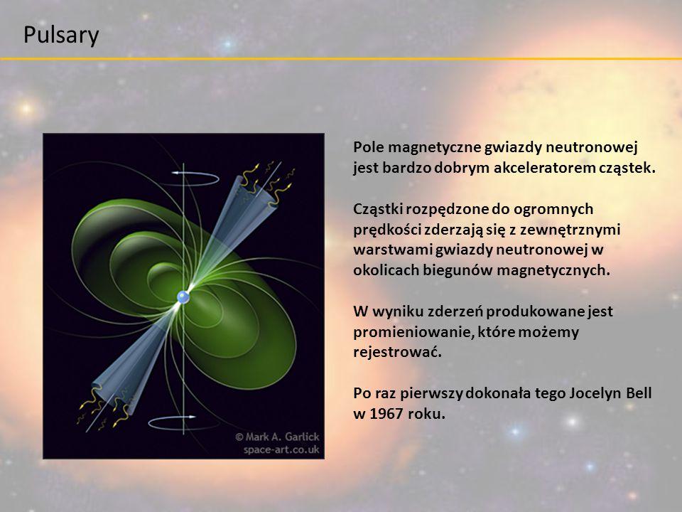 Pole magnetyczne gwiazdy neutronowej jest bardzo dobrym akceleratorem cząstek. Cząstki rozpędzone do ogromnych prędkości zderzają się z zewnętrznymi w