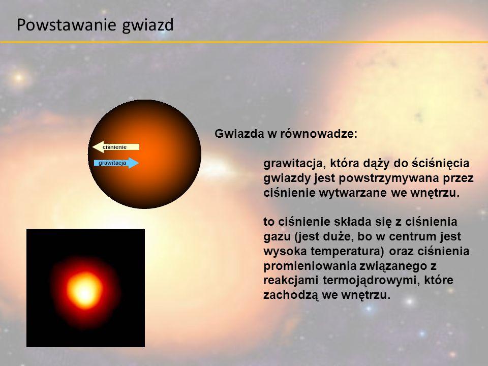 grawitacja ciśnienie Gwiazda w równowadze: grawitacja, która dąży do ściśnięcia gwiazdy jest powstrzymywana przez ciśnienie wytwarzane we wnętrzu. to