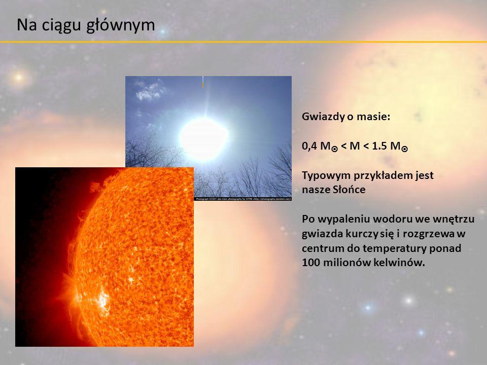 Gwiazdy o masie: 0,4 M  < M < 1.5 M  Typowym przykładem jest nasze Słońce Po wypaleniu wodoru we wnętrzu gwiazda kurczy się i rozgrzewa w centrum do