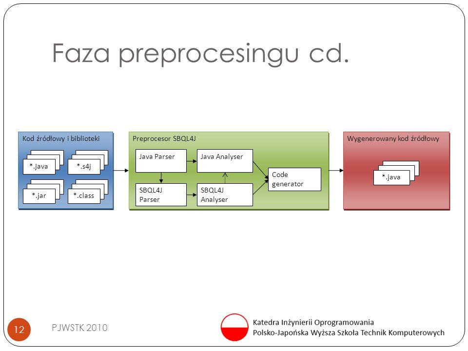 Faza preprocesingu cd. PJWSTK 2010 12 Wygenerowany kod źródłowy *.java Kod źródłowy i biblioteki *.s4j*.java *.jar*.class Preprocesor SBQL4J Java Pars