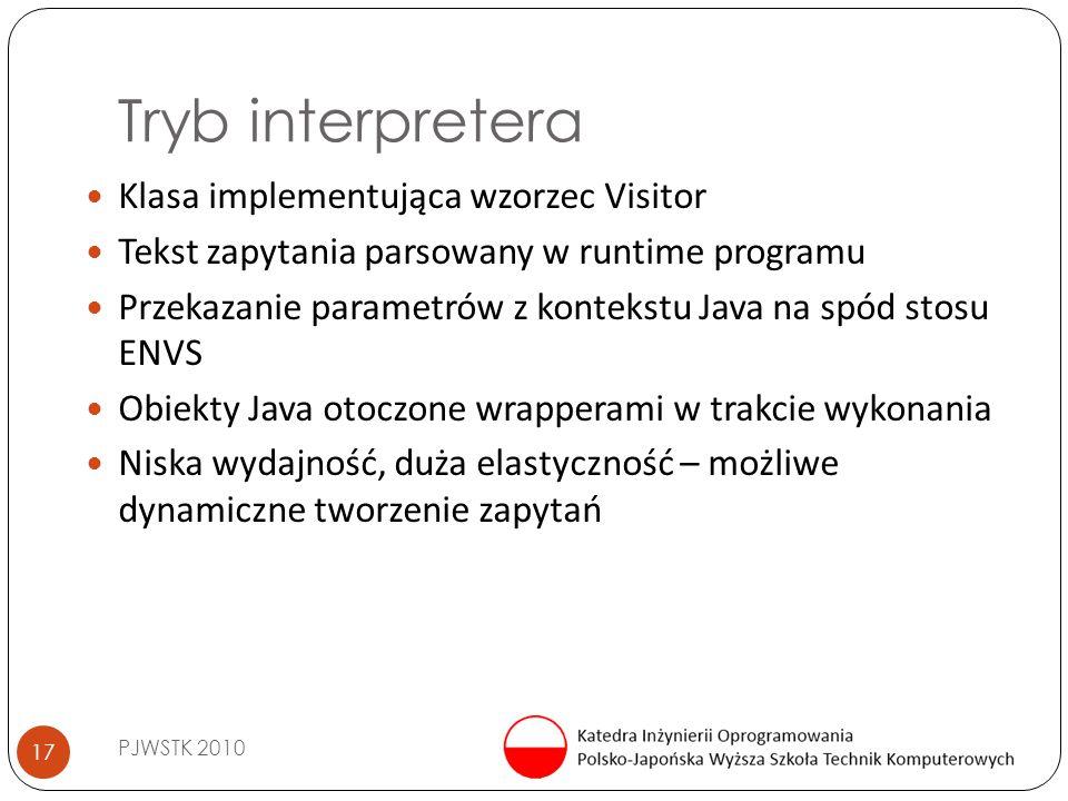Tryb interpretera PJWSTK 2010 17 Klasa implementująca wzorzec Visitor Tekst zapytania parsowany w runtime programu Przekazanie parametrów z kontekstu Java na spód stosu ENVS Obiekty Java otoczone wrapperami w trakcie wykonania Niska wydajność, duża elastyczność – możliwe dynamiczne tworzenie zapytań
