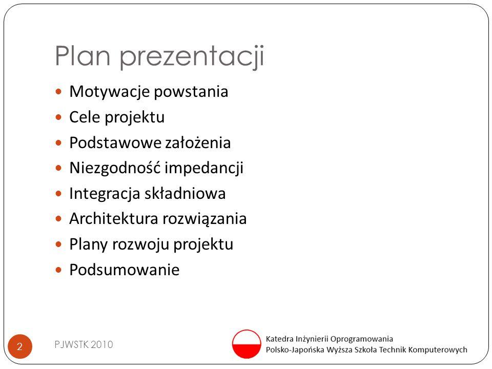 Plan prezentacji PJWSTK 2010 2 Motywacje powstania Cele projektu Podstawowe założenia Niezgodność impedancji Integracja składniowa Architektura rozwią