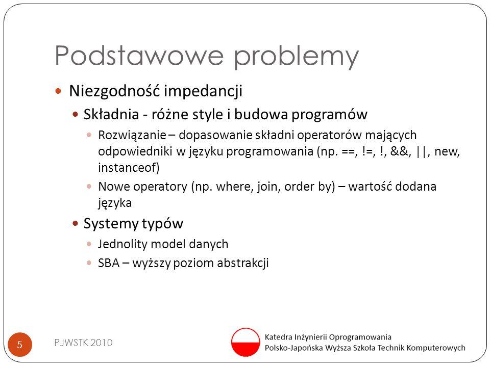 Podstawowe problemy PJWSTK 2010 5 Niezgodność impedancji Składnia - różne style i budowa programów Rozwiązanie – dopasowanie składni operatorów mający