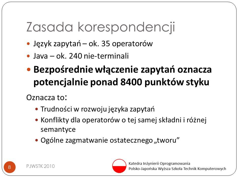 Zasada korespondencji PJWSTK 2010 8 Język zapytań – ok. 35 operatorów Java – ok. 240 nie-terminali Bezpośrednie włączenie zapytań oznacza potencjalnie