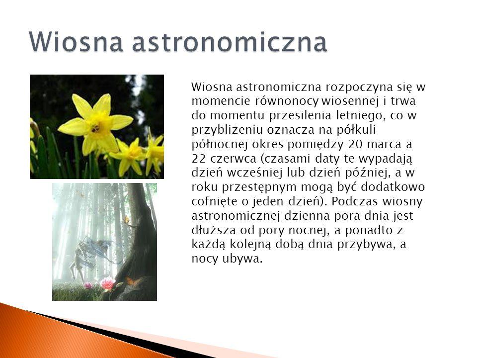Wiosna astronomiczna rozpoczyna się w momencie równonocy wiosennej i trwa do momentu przesilenia letniego, co w przybliżeniu oznacza na półkuli północ