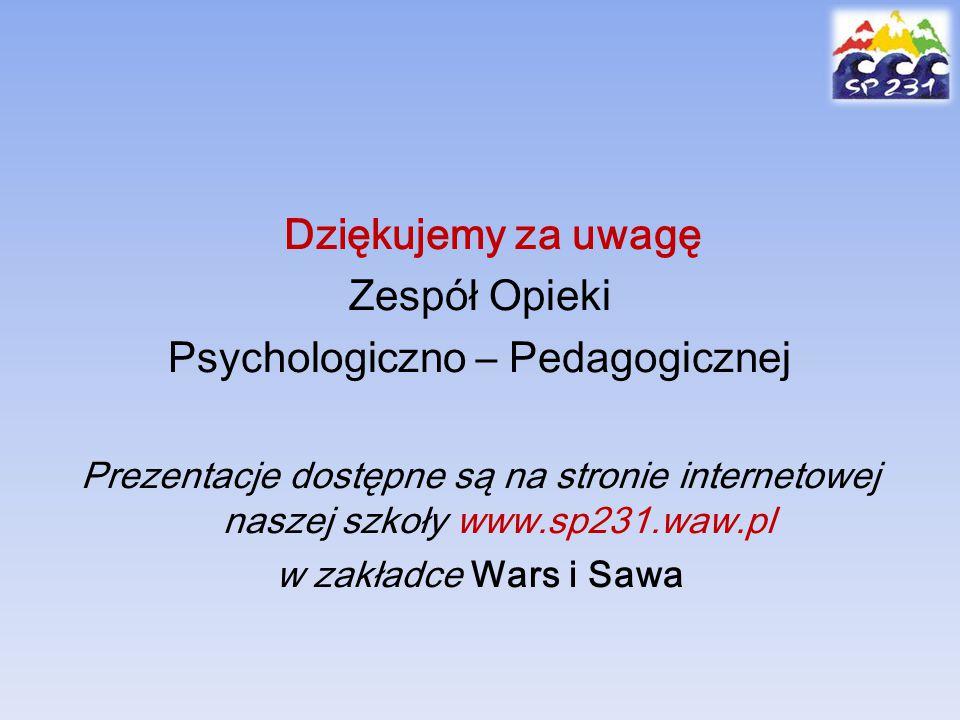 Dziękujemy za uwagę Zespół Opieki Psychologiczno – Pedagogicznej Prezentacje dostępne są na stronie internetowej naszej szkoły www.sp231.waw.pl w zakł