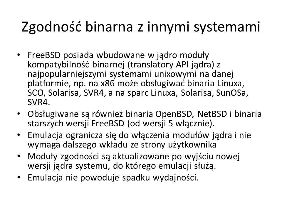 Zgodność binarna z innymi systemami FreeBSD posiada wbudowane w jądro moduły kompatybilność binarnej (translatory API jądra) z najpopularniejszymi systemami unixowymi na danej platformie, np.
