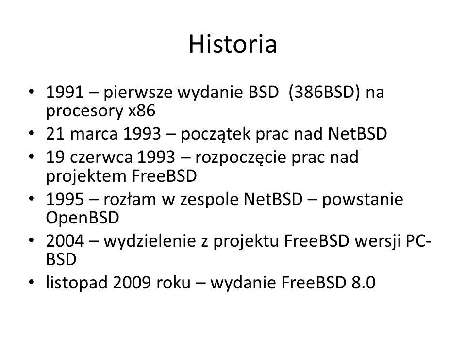 Dyski, partycje, systemy plików FreeBSD wspiera większość systemów plików (ext2/3, fat16/32, ntfs, xfs, zfs itd.) Domyślnie FreeBSD instaluje się na jednej partycji fizycznej, która zostaje podzielona na dyski logiczne zwane slices.