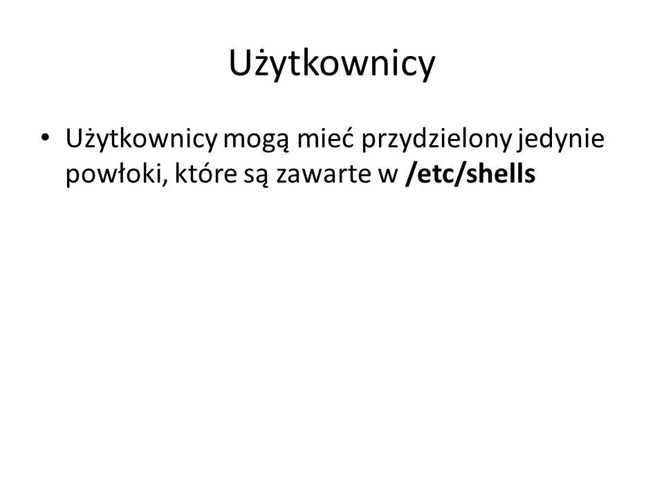 Użytkownicy Użytkownicy mogą mieć przydzielony jedynie powłoki, które są zawarte w /etc/shells