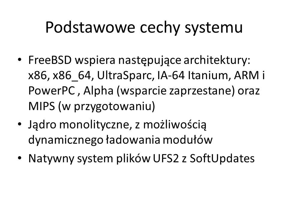 Podstawowe cechy systemu FreeBSD wspiera następujące architektury: x86, x86_64, UltraSparc, IA-64 Itanium, ARM i PowerPC, Alpha (wsparcie zaprzestane) oraz MIPS (w przygotowaniu) Jądro monolityczne, z możliwością dynamicznego ładowania modułów Natywny system plików UFS2 z SoftUpdates