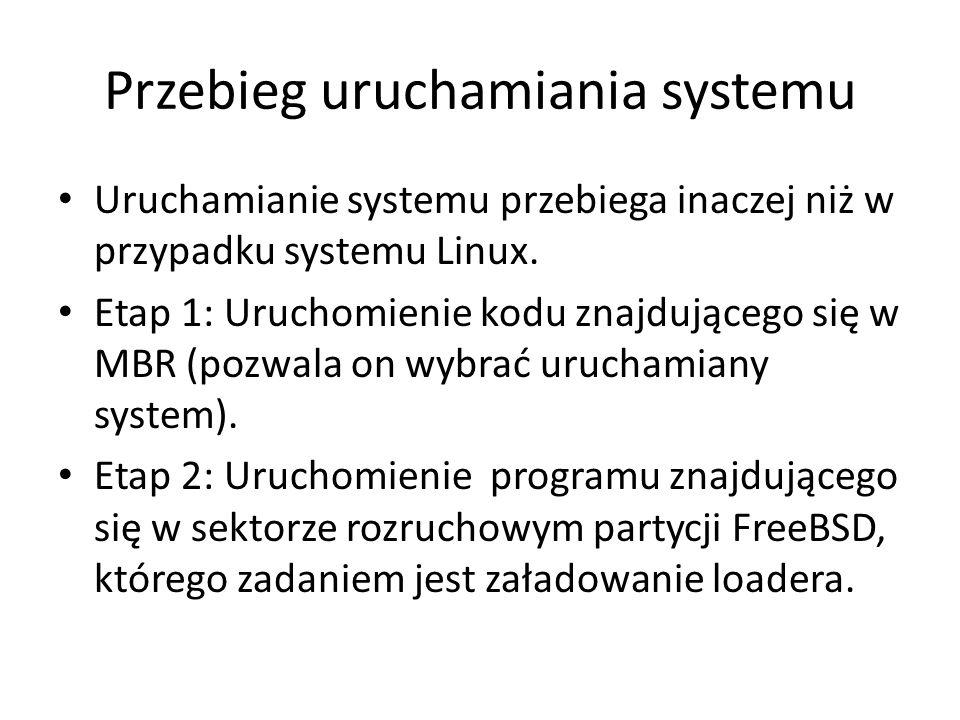 Kompilacja jądra ze źródeł Źródła jądra znajdują się w katalogu /usr/src/sys Przed kompilacja należy stworzyć kopie plik /usr/src/sys/ARCH/conf/GENERIC (ARCH oznacza architekturę platformy), np.