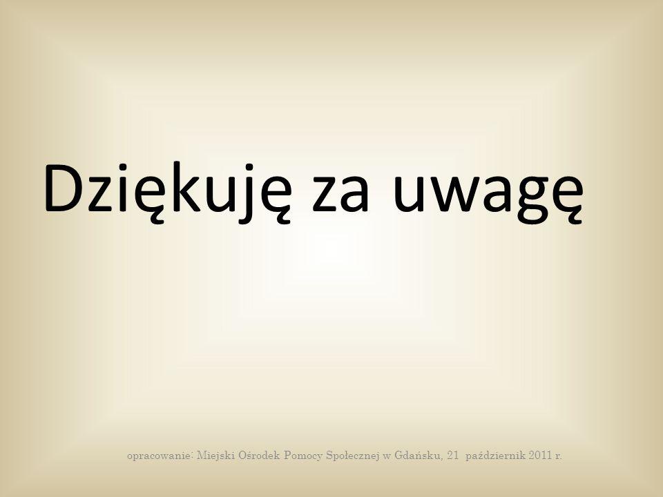 Dziękuję za uwagę opracowanie: Miejski Ośrodek Pomocy Społecznej w Gdańsku, 21 październik 2011 r.