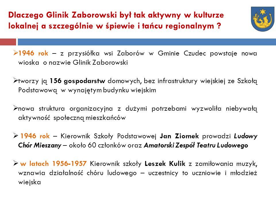 Dlaczego Glinik Zaborowski był tak aktywny w kulturze lokalnej a szczególnie w śpiewie i tańcu regionalnym .