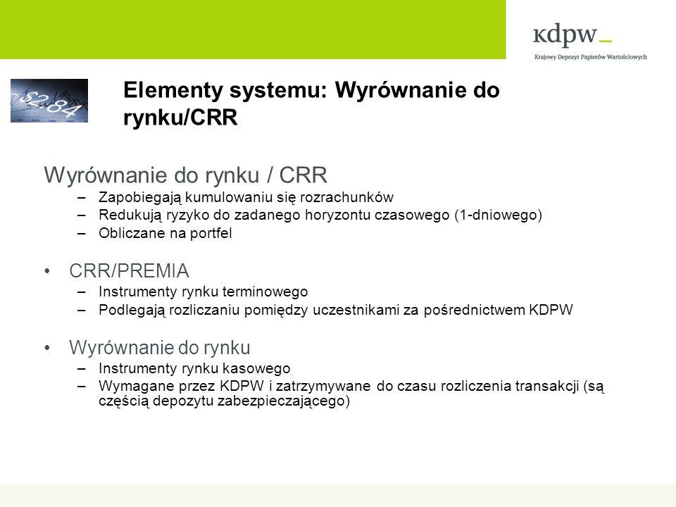 Elementy systemu: Wyrównanie do rynku/CRR Wyrównanie do rynku / CRR –Zapobiegają kumulowaniu się rozrachunków –Redukują ryzyko do zadanego horyzontu czasowego (1-dniowego) –Obliczane na portfel CRR/PREMIA –Instrumenty rynku terminowego –Podlegają rozliczaniu pomiędzy uczestnikami za pośrednictwem KDPW Wyrównanie do rynku –Instrumenty rynku kasowego –Wymagane przez KDPW i zatrzymywane do czasu rozliczenia transakcji (są częścią depozytu zabezpieczającego)