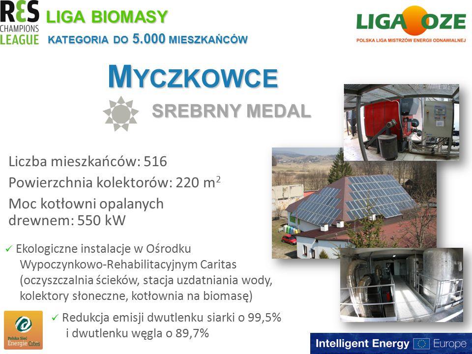 M YCZKOWCE SREBRNY MEDAL KATEGORIA DO 5.000 MIESZKAŃCÓW LIGA BIOMASY Liczba mieszkańców: 516 Powierzchnia kolektorów: 220 m 2 Moc kotłowni opalanych drewnem: 550 kW Ekologiczne instalacje w Ośrodku Wypoczynkowo-Rehabilitacyjnym Caritas (oczyszczalnia ścieków, stacja uzdatniania wody, kolektory słoneczne, kotłownia na biomasę) Redukcja emisji dwutlenku siarki o 99,5% i dwutlenku węgla o 89,7%
