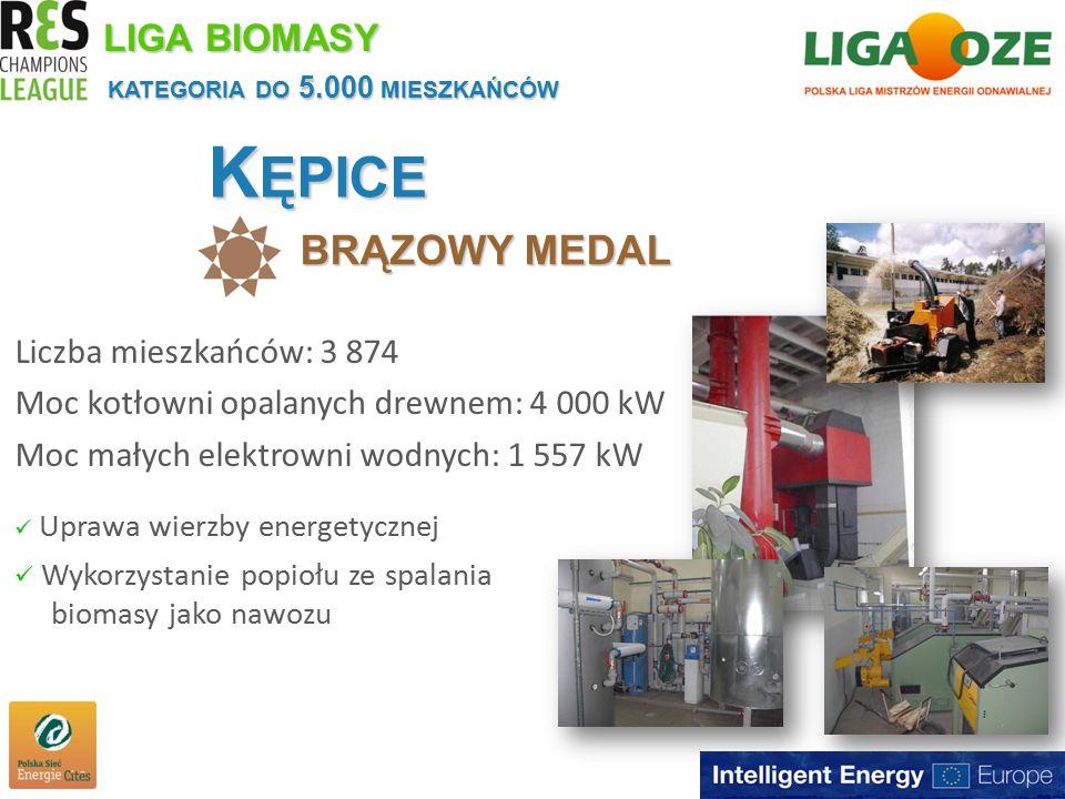 K ĘPICE BRĄZOWY MEDAL KATEGORIA DO 5.000 MIESZKAŃCÓW Liczba mieszkańców: 3 874 Moc kotłowni opalanych drewnem: 4 000 kW Moc małych elektrowni wodnych: 1 557 kW LIGA BIOMASY Uprawa wierzby energetycznej Wykorzystanie popiołu ze spalania biomasy jako nawozu