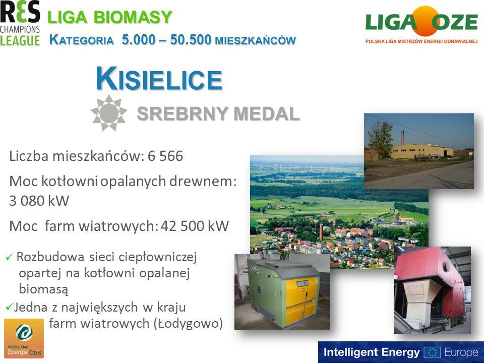 K ISIELICE SREBRNY MEDAL K ATEGORIA 5.000 – 50.500 MIESZKAŃCÓW Liczba mieszkańców: 6 566 Moc kotłowni opalanych drewnem: 3 080 kW Moc farm wiatrowych: 42 500 kW LIGA BIOMASY Rozbudowa sieci ciepłowniczej opartej na kotłowni opalanej biomasą Jedna z największych w kraju farm wiatrowych (Łodygowo)
