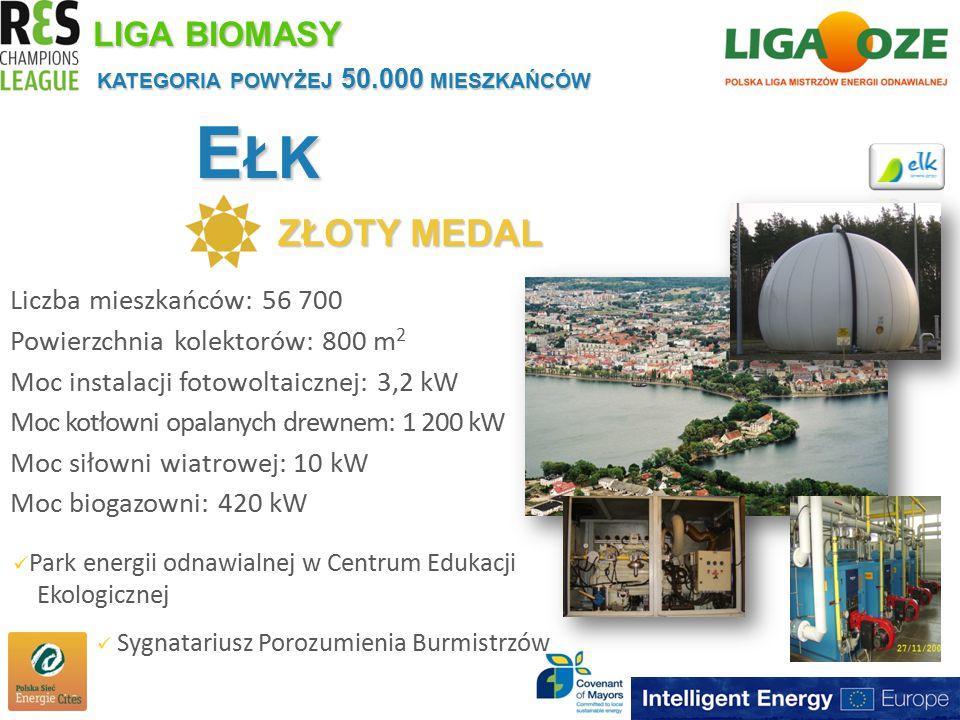 E ŁK ZŁOTY MEDAL KATEGORIA POWYŻEJ 50.000 MIESZKAŃCÓW LIGA BIOMASY Liczba mieszkańców: 56 700 Powierzchnia kolektorów: 800 m 2 Moc instalacji fotowoltaicznej: 3,2 kW Moc kotłowni opalanych drewnem: 1 200 kW Moc siłowni wiatrowej: 10 kW Moc biogazowni: 420 kW Park energii odnawialnej w Centrum Edukacji Ekologicznej Sygnatariusz Porozumienia Burmistrzów