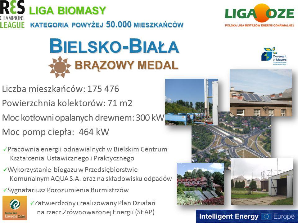 B IELSKO -B IAŁA BRĄZOWY MEDAL KATEGORIA POWYŻEJ 50.000 MIESZKAŃCÓW Liczba mieszkańców: 175 476 Powierzchnia kolektorów: 71 m2 Moc kotłowni opalanych drewnem: 300 kW Moc pomp ciepła: 464 kW LIGA BIOMASY Pracownia energii odnawialnych w Bielskim Centrum Kształcenia Ustawicznego i Praktycznego Wykorzystanie biogazu w Przedsiębiorstwie Komunalnym AQUA S.A.