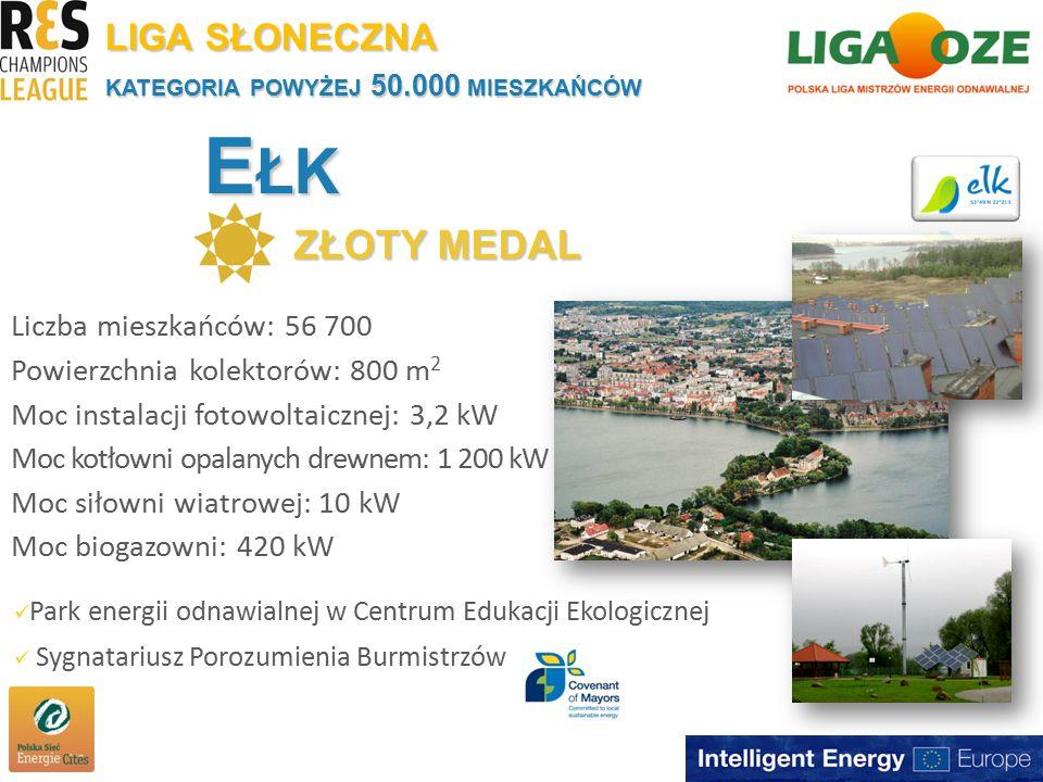 E ŁK ZŁOTY MEDAL KATEGORIA POWYŻEJ 50.000 MIESZKAŃCÓW Liczba mieszkańców: 56 700 Powierzchnia kolektorów: 800 m 2 Moc instalacji fotowoltaicznej: 3,2 kW Moc kotłowni opalanych drewnem: 1 200 kW Moc siłowni wiatrowej: 10 kW Moc biogazowni: 420 kW LIGA SŁONECZNA Park energii odnawialnej w Centrum Edukacji Ekologicznej Sygnatariusz Porozumienia Burmistrzów