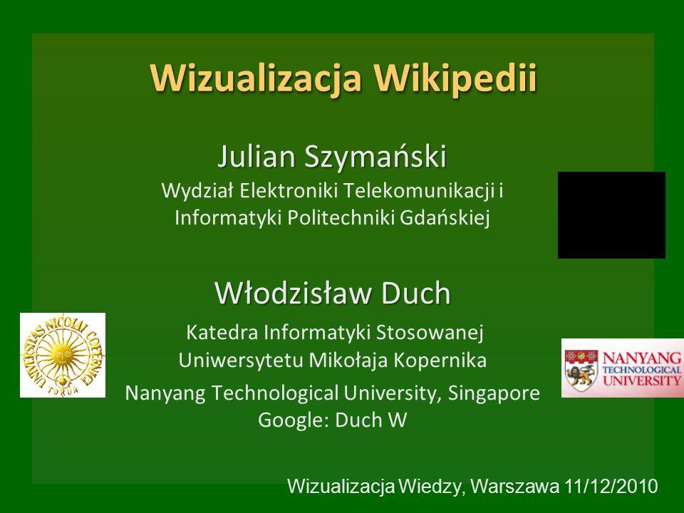 Wizualizacja Wikipedii Julian Szymański Julian Szymański Wydział Elektroniki Telekomunikacji i Informatyki Politechniki Gdańskiej Włodzisław Duch Kate