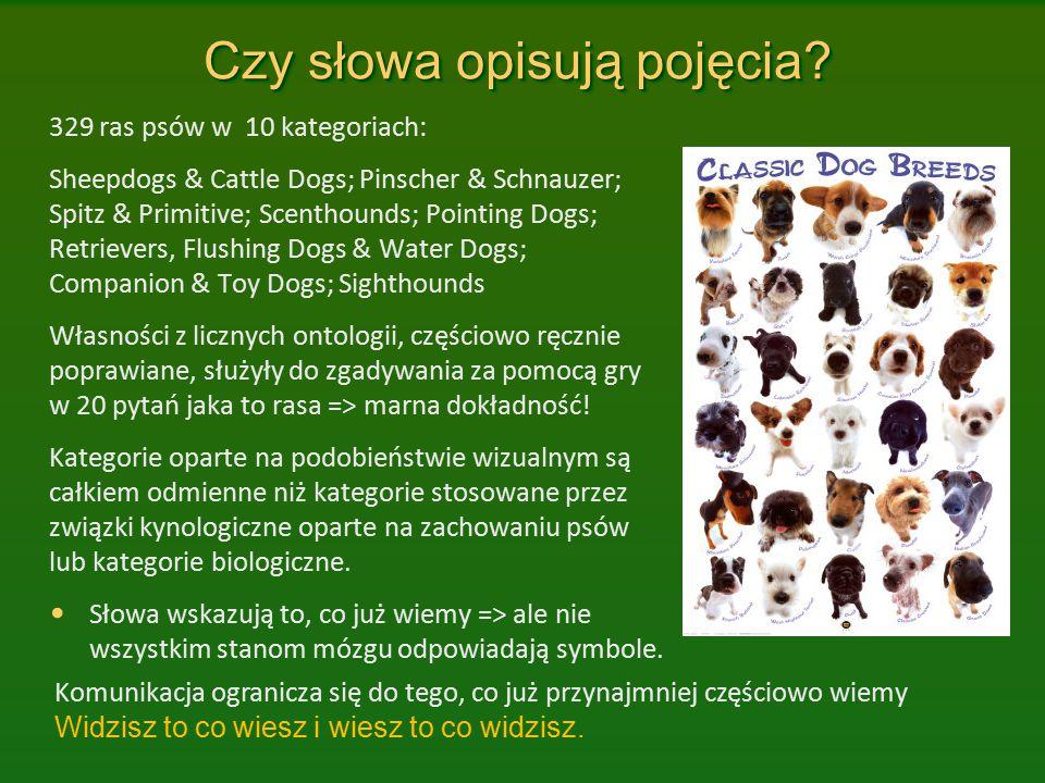 Czy słowa opisują pojęcia? 329 ras psów w 10 kategoriach: Sheepdogs & Cattle Dogs; Pinscher & Schnauzer; Spitz & Primitive; Scenthounds; Pointing Dogs