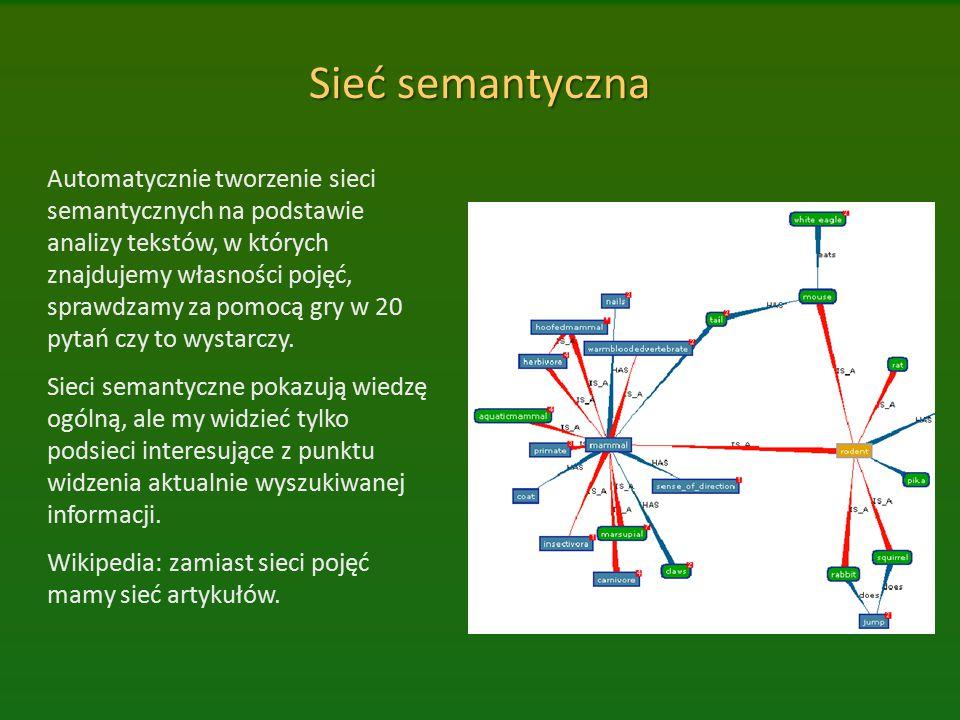 Sieć semantyczna Automatycznie tworzenie sieci semantycznych na podstawie analizy tekstów, w których znajdujemy własności pojęć, sprawdzamy za pomocą