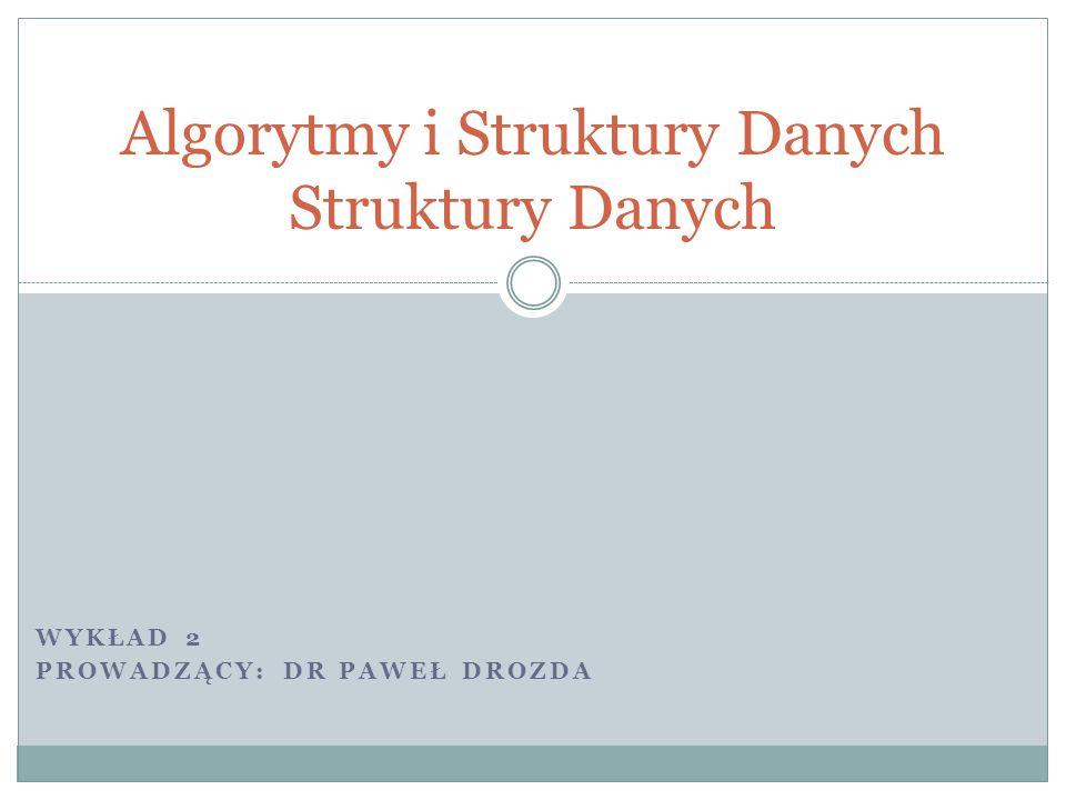 WYKŁAD 2 PROWADZĄCY: DR PAWEŁ DROZDA Algorytmy i Struktury Danych Struktury Danych