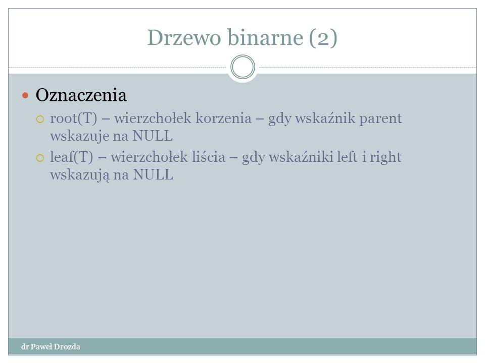 Drzewo binarne (2) dr Paweł Drozda Oznaczenia  root(T) – wierzchołek korzenia – gdy wskaźnik parent wskazuje na NULL  leaf(T) – wierzchołek liścia –